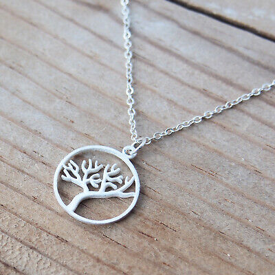 Tree Of Life Frost Finish Sterling Silver Charm Pendant Chain Necklace  Frost Finish Pendants