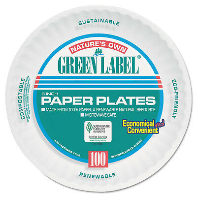 AJM Uncoated Paper Plates 6 Inches White Round 1000/Carton PP6AJKWH