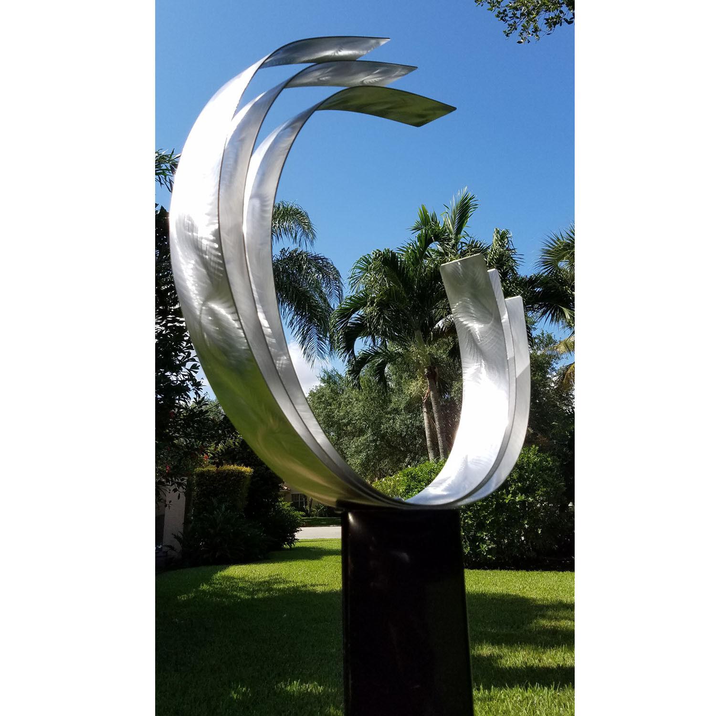 Metal Garden Sculpture Modern Art Silver Yard Decor Home ...