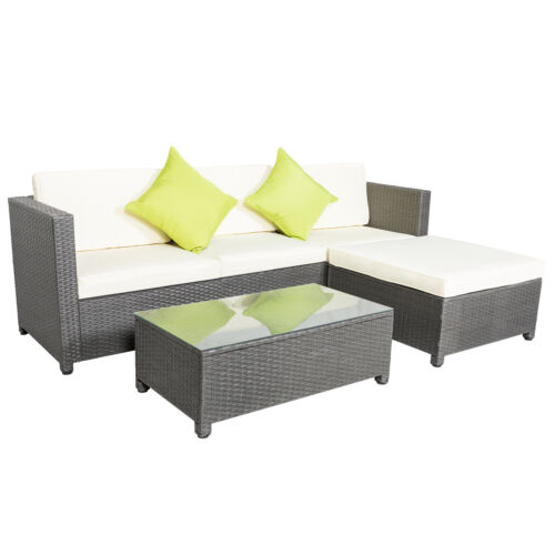 Garden Furniture - 5PCS Outdoor Rattan Wicker Patio Set Garden Lawn Sofa +Chair Furniture Cushioned