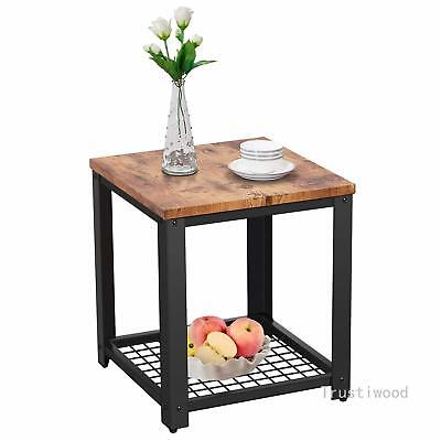 2-Tier End Table Side Table Accent Shelf Storage Living Room Bedroom Furniture