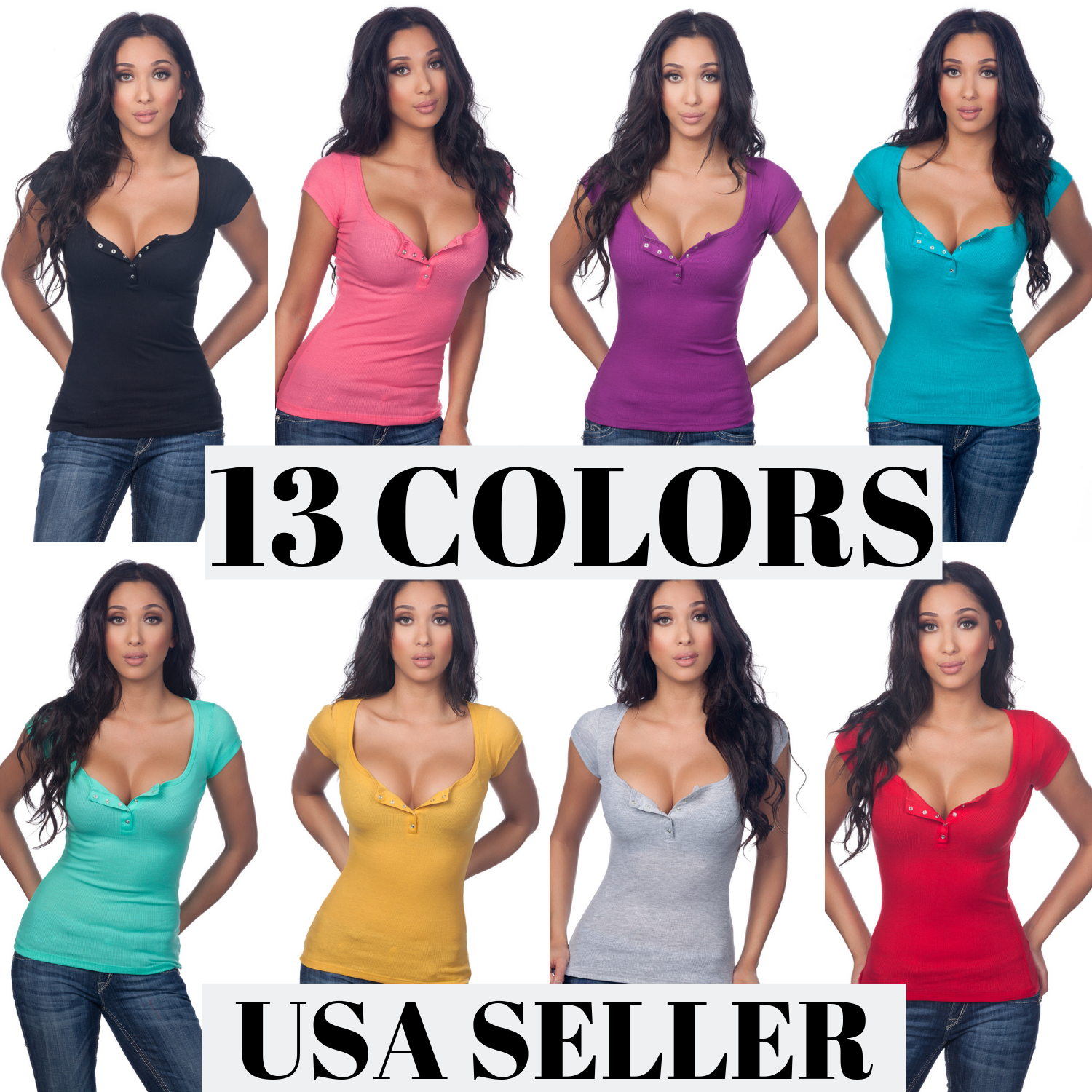 Color Story Junior Sexy Casual Cleavage Ribbed Henley Rhines