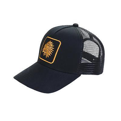Men's Chief Head Print Snapback Adjustable Mesh Trucker Hat Baseball Cap Black Black Adjustable Trucker Hat