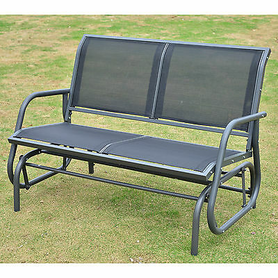 Outsunny Patio Garden Glider Bench 2 Person Double Swing Chair Rocker Deck Black