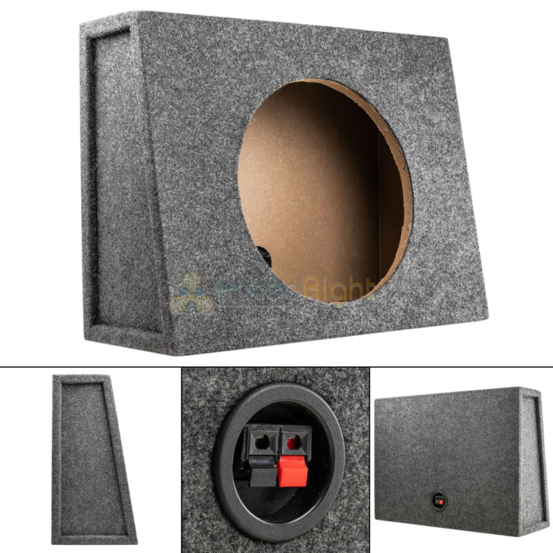 "Sealed 12"" Subwoofer Truck Box Slanted Enclosure Single Sub Woofer Slim Shallow"