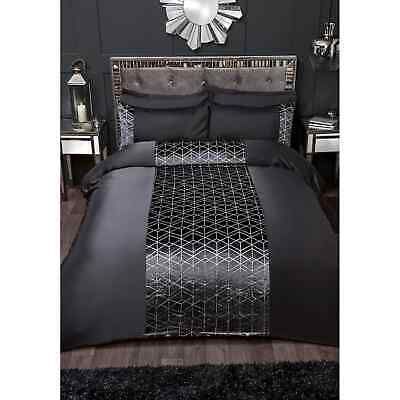 New Luxury Charcoal Karina Bailey Lexi Duvet Cover Bed Set Double/King