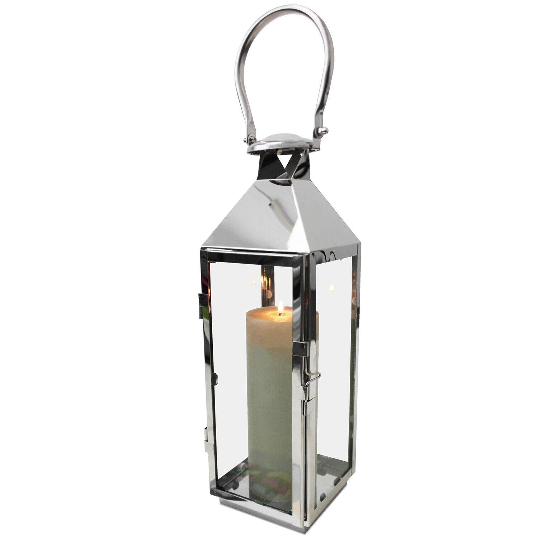 Edelstahl Laterne 13x13xH40cm Gartenlaterne Windlicht Kerzenhalter Silber