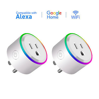 2-Pack Wifi Smart Plug Outlet Socket LED Light Alexa Google Home Remote Control