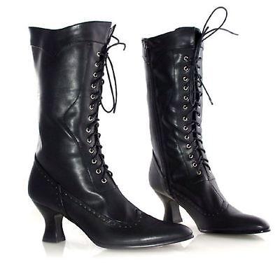 Ellie Shoes Amelia Viktorianisch Steampunk Gothic 6.3cm Absatz Schuhe Stiefel - Schwarz Viktorianischen Schuhe