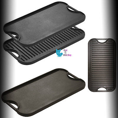 (Cast Iron Grill Griddle Pan Reversible Hamburger Steak Stove Top Fry Egg Cooking)
