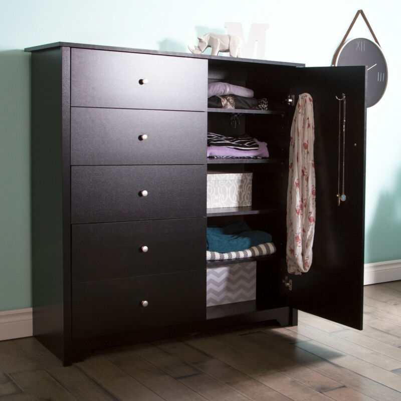 South Shore Vito Door Chest Pure Black Black With 5 Drawers