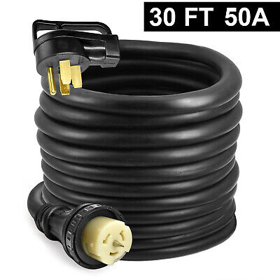 30ft 50a Generator Extension Cord 4 Prong Power Cable 14-50p Adapter Plug