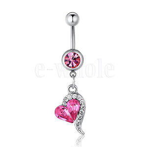 1pcs Rhinestone Crystal Heart Barbells Navel Belly Bar Button Ring Body Piercing