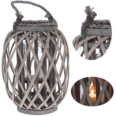 XL Holz Garten-Laterne Windlicht Henkel Kerzenhalter Kerzenständer Glaseinsatz