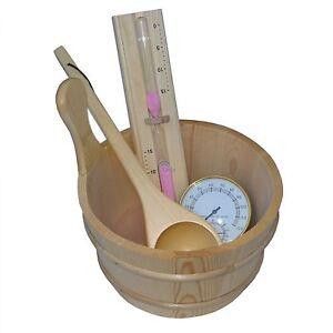 Saunazubehör Sauna Saunaset Sanduhr Thermometer Saunakübel Saunakelle Kübel Eime