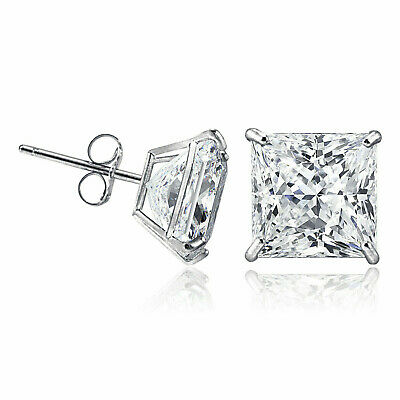 14K Solid White Gold Square Princess Cubic Zirconia Push Back Stud Earrings 14k Cubic Zirconia Earring Princess Stud