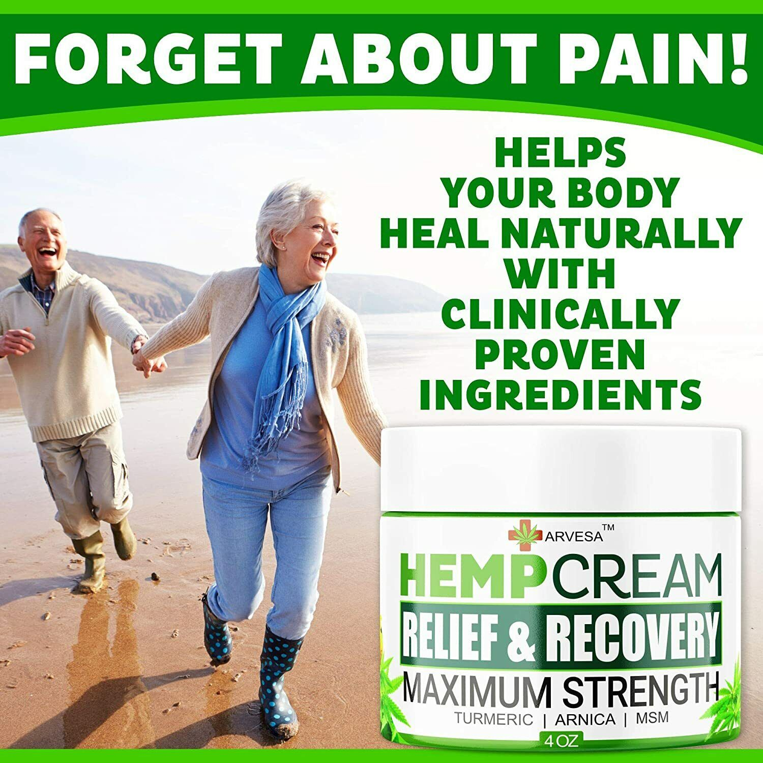 Instant Hemp Pain Relief Cream 8M Muscle Joint Foot Back Turmeric Arnica 4oz USA 3