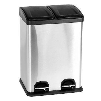 Duo Küchen Mülleimer 2x20 Liter Abfalleimer Treteimer Mülltrenner Müllsammler