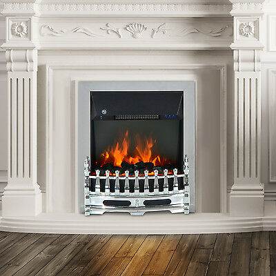 Modern Electric Fireplace 1 & 2KW LED Fire Place Remote Heater Surround Lighting