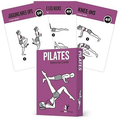 Pilates Exercise Cards, Set of 62 for Women and Men :: for Home, Gym or