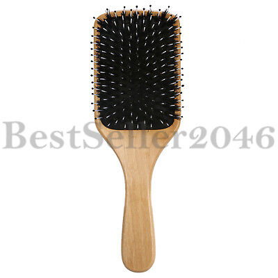 Natural Boar Bristle Hair Brush Wooden Paddle Detangling Cushion Hairbrush -