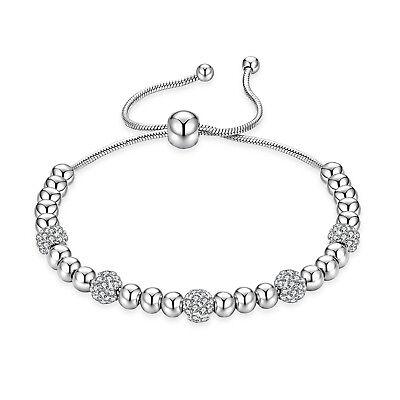 Edelstahl Damen Armband mit Zirkonia Kugelarmband Silber Armkette bis 26 cm