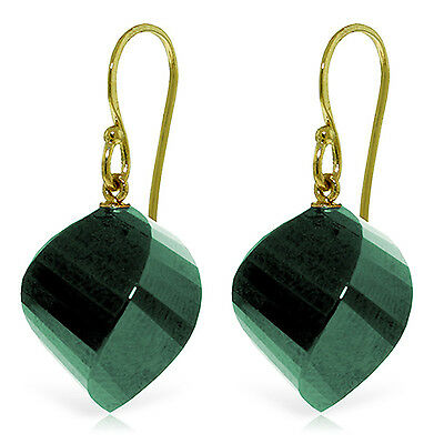 14K Solid Gold Fish Hook Earrings with Natural Emeralds ()