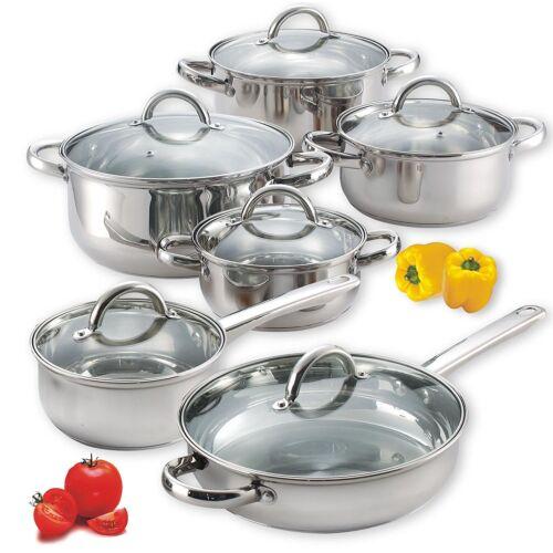 12 Piece Cookware Set Stainless Steel Cookware Set Kitchen (Pot and Pan)