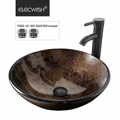 Bathroom Artistic Glass Vessel Sink Oil Rubbed Bronze Faucet Pop Up Drain Combo