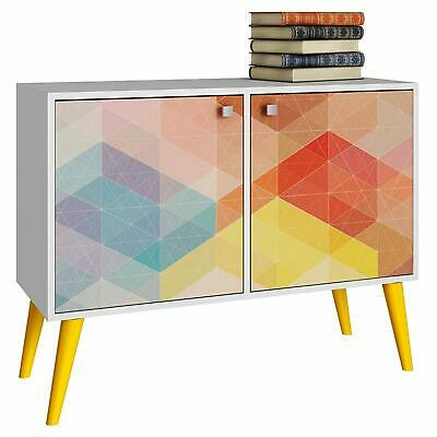 Manhattan Comfort Double Side Table with 3 shelves in White/ Yellow New Yellow Side Table