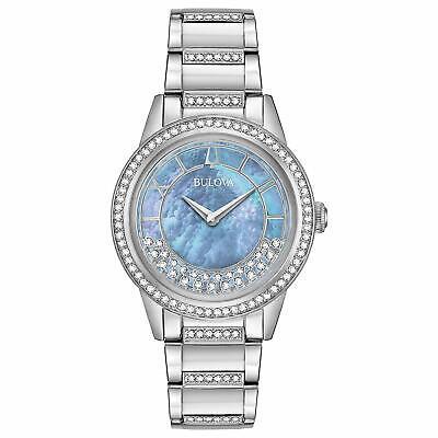 Bulova Women's Quartz Crystal Accents Silver-Tone Bracelet 23mm Watch 96L260