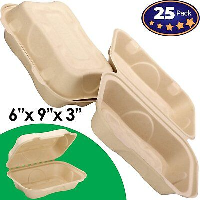 Biodegradable 6x9 Take Out Food Containers with Clamshell Hinged Lid 25 Pack... - Take Out Containers