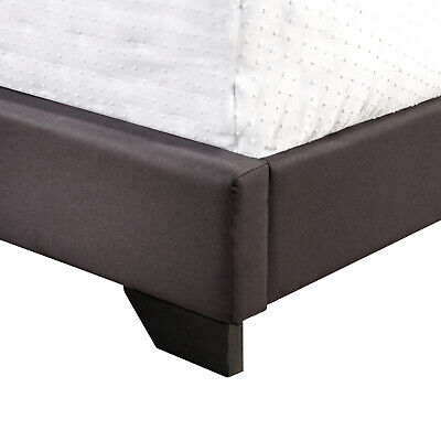 Queen Size Upholstered Bed Frame With Wood Slat Platform Headboard Nailhead Trim 7