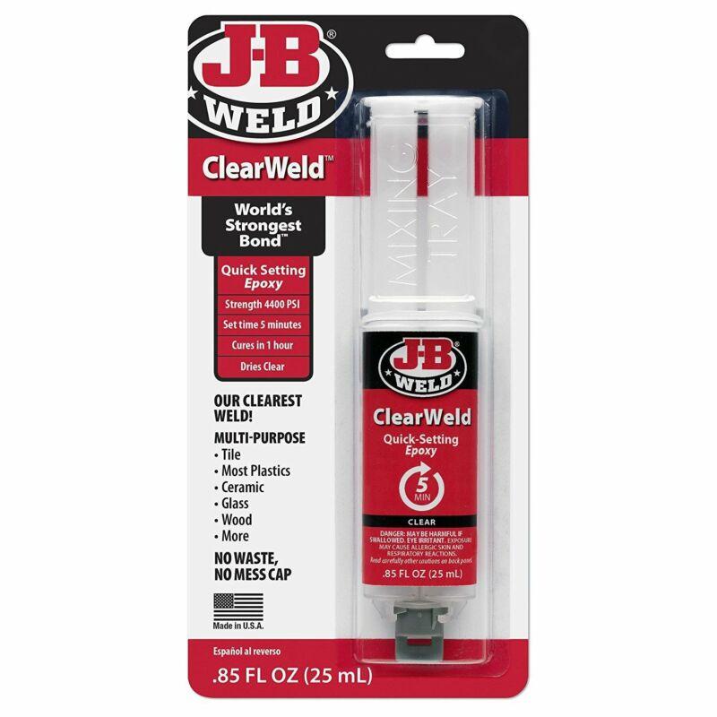 J-B Weld 50112 Clear 25 ml ClearWeld Quick-Setting Epoxy Syringe, 1 Pack