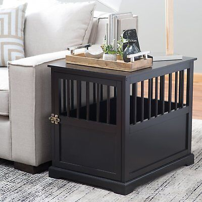 End Table Wood Dog Pet Crate  Black Living Room Bedroom Furniture  Medium