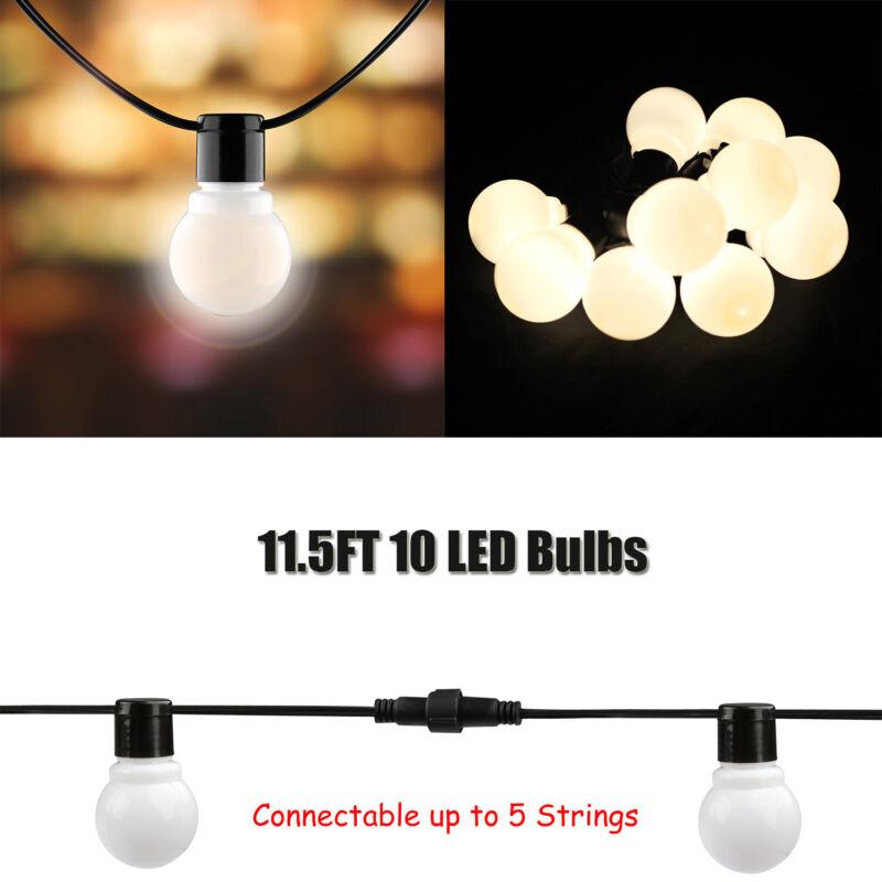 Outdoor Globe String Lights Patio Yard Garden Lighting Waterproof 10 LED Globes