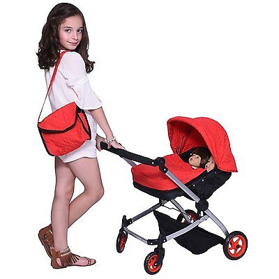 Modern Twin Doll Deluxe Babyboo Stroller Red Quilted Fabric FREE Diaper Bag