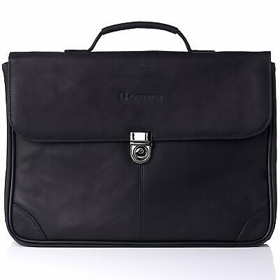 Alpine Swiss Business Portfolio Real Leather Briefcase Flap-Over Locking Case