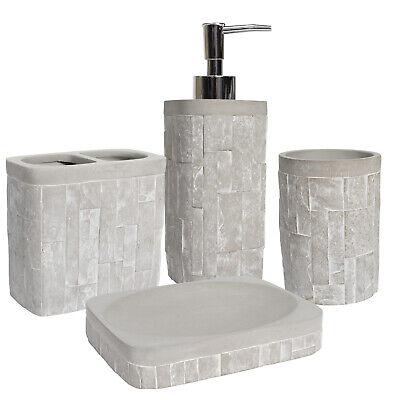 4 Piece Concrete (Avalon Concrete Bath Accessory Collection 4 Piece Bathroom Set )