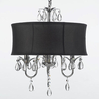 New Elegant Crystal Chandelier Lighting Black Shade H22