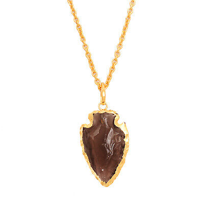 Rough Gemstone Arrowhead 30x21mm Brass Gold Plated 18 Inch Long Necklace