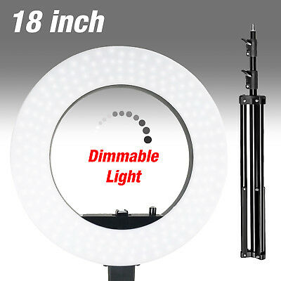 """LED Continuous Ring Light Kit Bright 18"""" Dimmable Photo Video Stand w/Carry Bag"""