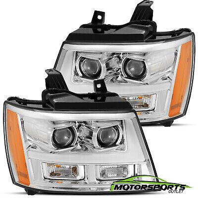 2007-2014 Chevy Suburban/Tahoe/Avalanche Chrome LED Bar Projector Headlights Set