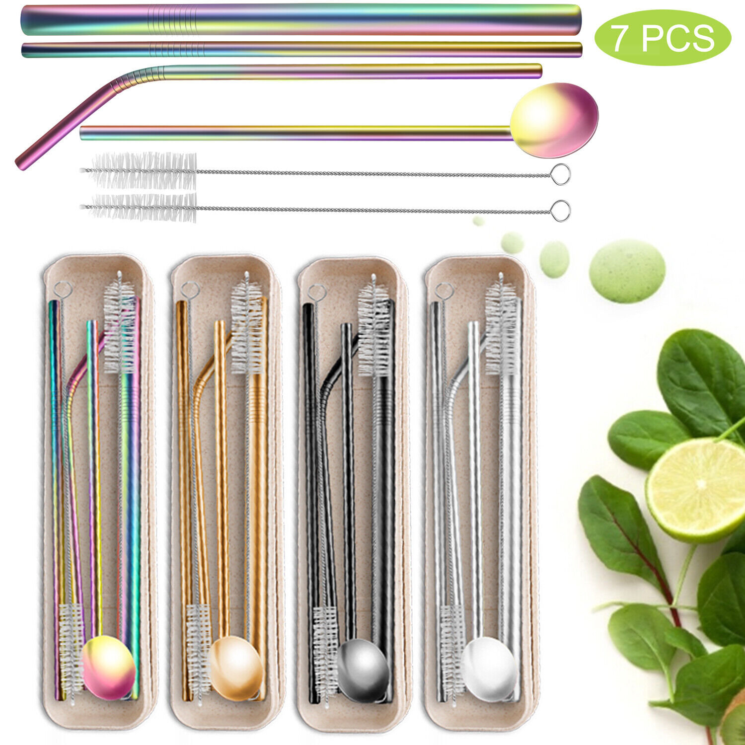 Reusable Drinking Straws Set Stainless Steel Metal With Case