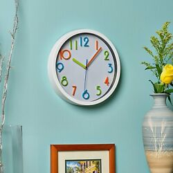 Kids Room Colorful Wall Clock Silent Non Ticking 3D Multi Colored Numbers 10