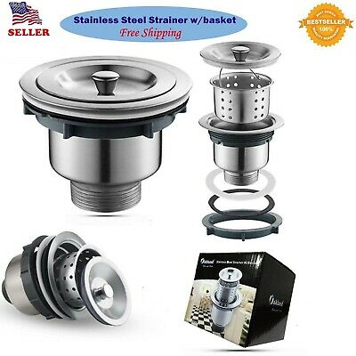 Stainless Steel Kitchen/Bar Sink Strainer With Filter Basket Drain Head - Silver Drain
