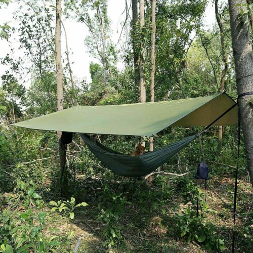 COMBO 10ft Rain Fly Tent Tarp & Double Hammock Mosquito Net Lightweight Camping