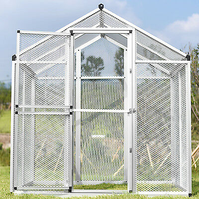 Large Gentle Animals House Aluminum Bird Cage Pet Poultry Walk in Aviary 2 Doors