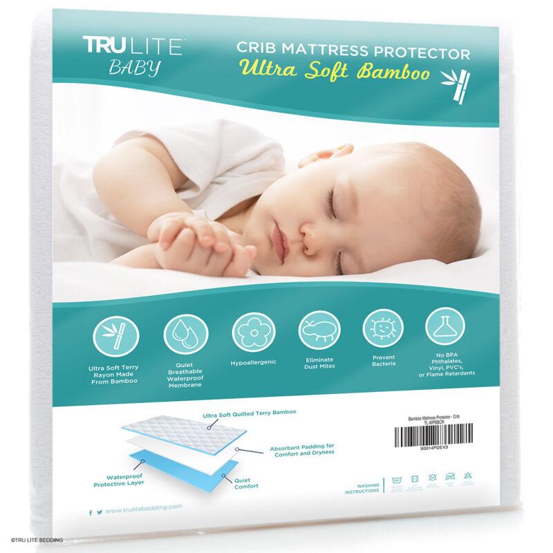 NEW TRU Lite Crib Mattress Protector, white, bamboo, waterproof, hypoallergenic