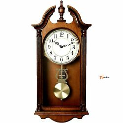 Chiming Wood Wall Clock Striking 3 Melody Option - Rsenio